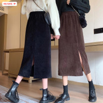 skirt Winter 2020 Average size (within 80kg ~ 130kg) Mid length dress commute High waist A-line skirt Solid color Type A 18-24 years old More than 95% other Basabai other Splicing Korean version Other 100% Pure e-commerce (online only)