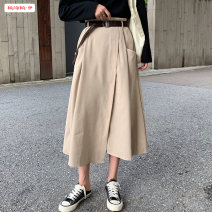skirt Autumn 2020 Average size (within 80kg ~ 130kg) Black (for belt) apricot (for belt) Mid length dress commute High waist A-line skirt Solid color Type A 18-24 years old BSBY20200819T09 More than 95% other Basabai other Asymmetric stitching of pockets Korean version Other 100%