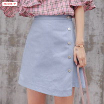 skirt Summer of 2019 S M L XL Blue white Short skirt commute High waist A-line skirt Solid color Type A 18-24 years old BSBY20190621T03 More than 95% Denim Basabai polyester fiber Asymmetric button zipper stitching Korean version Polyester 100% Pure e-commerce (online only)