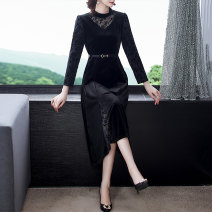 Middle aged and old women's wear Spring 2021 black S M L XL 2XL 3XL Intellectuality Dress Self cultivation singleton  40-49 years old moderate Crew neck Medium length routine QHG72Ae4 Qianhua song other Other 100% 96% and above Pure e-commerce (online only) Medium length other