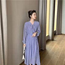 Dress Spring 2021 Blue purple S,M,L,XL Mid length dress singleton  Long sleeves commute Dot Socket A-line skirt pagoda sleeve 18-24 years old Other / other Korean version Bow, tuck, fold, lace up 9152 real shot