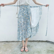 skirt Summer 2020 Average size Mid length dress commute High waist Irregular Decor Type A 18-24 years old Chiffon Other / other Lace up, asymmetric, strap, stitching Korean version