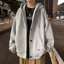 Sweater Fashion City Others 219 grey, 219 black, 219 apricot M. L, XL, 2XL, 3XL, 4XL (180 ~ 205 kg), 5XL (205 ~ 230 kg) Solid color Cardigan routine Hood autumn easy leisure time youth Youthful vigor routine Polyester 55% cotton 45% Button decoration No iron treatment Mingji thread patch bag
