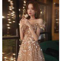 Dress / evening wear Weddings, adulthood parties, company annual meetings, daily appointments S M L XL XXL Champagne Korean version longuette middle-waisted Autumn 2020 Self cultivation One shoulder Bandage 18-25 years old M20200563 Nail bead Solid color Mo Xuedi other Other 100% Sequins