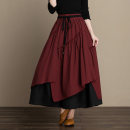 skirt Autumn of 2018 Average size Red, blue, green Mid length dress Retro High waist A-line skirt lattice Type A 35-39 years old LYC2536 More than 95% Elu  cotton Pleated auricular lace up for elastic waistline Cotton 100% Pure e-commerce (online only)