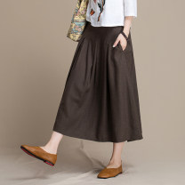skirt Fall 2017 M L XL Black red coffee Mid length dress commute High waist A-line skirt Solid color Type A 71% (inclusive) - 80% (inclusive) Elu  Viscose Pleated pocket stitching literature Pure e-commerce (online only)