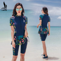 one piece  Sanqi M L XL XXL XXXL 4XL 18076 Tibetan two piece set 18137 Tibetan three piece set 18137 black three piece set 18076 black two piece set Skirt one piece With chest pad without steel support Nylon, spandex, polyester, others Spring 2021 yes female Short sleeve Casual swimsuit scenery