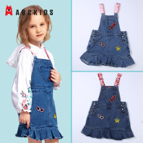 Dress Denim light blue, denim blue female Abckids 110cm,120cm,130cm,140cm,150cm,160cm spring and autumn lady Skirt / vest Solid color Cotton blended fabric Pleats 2, 3, 4, 5, 6, 7, 8, 9, 10, 11, 12, 13, 14 years old