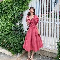 Dress Summer 2020 Watermelon red S M L Mid length dress singleton  Short sleeve commute One word collar High waist Solid color Socket Big swing Princess sleeve Others 25-29 years old Poem score Korean version SP200516111 More than 95% polyester fiber Polyester 100% Exclusive payment of tmall