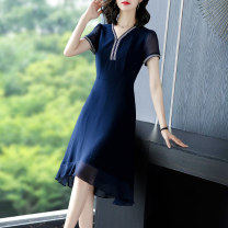 Dress Summer 2021 Tibetan blue- S M L XL 2XL 3XL Mid length dress singleton  Short sleeve commute V-neck middle-waisted Solid color Socket A-line skirt routine Others 40-49 years old Type A Yi meichu lady Stitching zipper YN - one thousand and twenty-eight More than 95% other other Other 100%