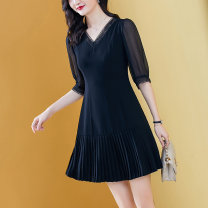Dress Summer 2021 Black black- 4XL S M L XL 2XL 3XL Short skirt singleton  elbow sleeve commute V-neck middle-waisted Solid color Socket A-line skirt routine Others 40-49 years old Type A Yi meichu lady Splicing More than 95% other other Other 100% Pure e-commerce (online only)