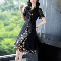 Dress Summer 2021 Black fake two black fake two- S M L XL 2XL 3XL Mid length dress singleton  Short sleeve commute Scarf Collar middle-waisted Decor Socket A-line skirt routine Others 40-49 years old Type A Yi meichu lady Stitched zipper print YN-1026 More than 95% other other Other 100%