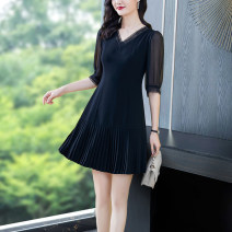 Dress Spring 2021 Same Black Mid sleeve yn-961 S M L XL 2XL 3XL 4XL Mid length dress singleton  Nine point sleeve commute V-neck middle-waisted Solid color Socket A-line skirt routine Others 40-49 years old Type A Yi meichu lady Stitching zipper YN-889 More than 95% other other Other 100%