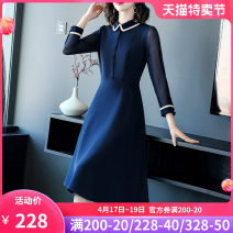 Dress Spring 2021 Blue - Blue S M L XL 2XL 3XL Mid length dress singleton  Long sleeves commute Polo collar middle-waisted Solid color zipper A-line skirt routine Others 40-49 years old Type A Yi meichu lady Stitched button mesh zipper YN-733 More than 95% other other Other 100%