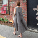 Dress Summer of 2019 Grey brown S M L XL longuette singleton  Sleeveless commute Crew neck Loose waist Solid color Socket Irregular skirt other Others 25-29 years old Type A Art in love with Su Retro Button YLSX107 31% (inclusive) - 50% (inclusive) hemp Flax 35% cotton 35% polyester 30%