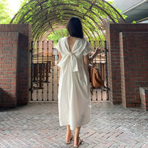Dress Summer 2020 white S M L XL longuette singleton  Short sleeve commute Crew neck Loose waist Solid color Socket routine Others 25-29 years old Type H Art in love with Su Korean version backless YLSXT068 More than 95% brocade cotton Cotton 100% Pure e-commerce (online only)