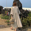 Dress Summer of 2018 S M L XL longuette singleton  elbow sleeve commute V-neck Loose waist Solid color Socket Big swing bishop sleeve Others 25-29 years old Type X Art in love with Su Korean version 31% (inclusive) - 50% (inclusive) hemp Flax 35% cotton 35% polyester 30% Pure e-commerce (online only)