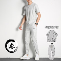 T-shirt Youth fashion thin M L XL 2XL 3XL 4XL Front line of vision Short sleeve Crew neck Self cultivation Other leisure summer Cotton 97% polyurethane elastic fiber (spandex) 3% teenagers routine Chinese style Knitted fabric Summer of 2019 Alphanumeric Embroidery Cotton and hemp other Fashion brand