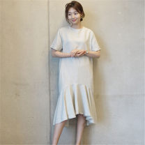 Dress Summer of 2019 Off white black S M L XL Mid length dress singleton  Short sleeve commute Crew neck Loose waist Solid color Socket Ruffle Skirt routine 25-29 years old Type A Pashto Korean version Asymmetric zipper with ruffle stitching 51% (inclusive) - 70% (inclusive) hemp Flax 55% cotton 45%