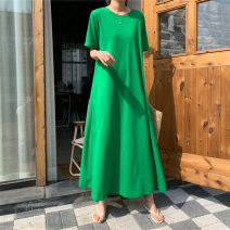 Dress Summer 2021 Green grey blue S M L XL longuette singleton  Short sleeve commute Crew neck Loose waist Solid color Socket A-line skirt routine 25-29 years old Type A Pashto Korean version pocket TXQ034 More than 95% cotton Cotton 100% Pure e-commerce (online only)