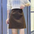 skirt Autumn 2020 S M L XL Khaki black Short skirt commute High waist A-line skirt Solid color 25-29 years old KJ8281 More than 95% Ziiyee / Ziyan other zipper PU Pure e-commerce (online only)