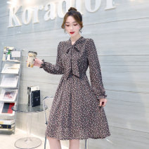 Dress Spring 2021 Brown S M L Mid length dress singleton  Long sleeves commute V-neck High waist Decor Pleated skirt routine Others 25-29 years old Type H Ziiyee / Ziyan Korean version Bow printing FZL8080 More than 95% polyester fiber Polyethylene terephthalate (polyester) 100%