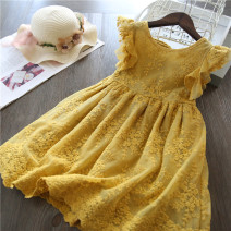Dress female Aini babe 100cm (recommended height 90), 110cm (recommended height 100), 120cm (recommended height 110), 130cm (recommended height 120), 140cm (recommended height 130) Other 100% summer Korean version Short sleeve Solid color cotton Pleats Class A Chinese Mainland