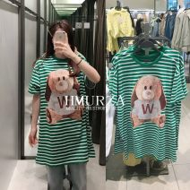 Dress Spring 2021 Green stripe S,M,L Mid length dress singleton  Short sleeve commute Crew neck middle-waisted stripe Socket other routine Others Korean version A514 81% (inclusive) - 90% (inclusive) other other