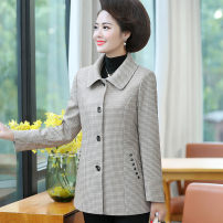 Middle aged and old women's wear Autumn of 2019 Light dark XL (about 100 kg is recommended) 2XL (about 115 kg is recommended) 3XL (about 130 kg is recommended) 4XL (about 145 kg is recommended) 5XL (about 155 kg is recommended) fashion Jacket / jacket Straight cylinder singleton  other Cardigan