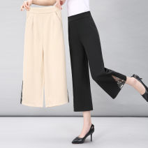 Middle aged and old women's wear Summer 2020 Black Beige XL (about 100 kg is recommended) 2XL (about 115 kg is recommended) 3XL (about 130 kg is recommended) 4XL (about 145 kg is recommended) 5XL (about 155 kg is recommended) Intellectuality trousers easy singleton  other 50-59 years old thin Gofani