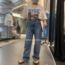 Jeans Winter 2020 blue S, M trousers Natural waist Straight pants routine 18-24 years old washing other light colour A030915AA16