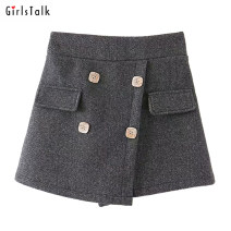Casual pants Black, gray Average size Winter of 2019 shorts Wide leg pants High waist street routine 71% (inclusive) - 80% (inclusive) other Europe and America