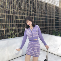 Fashion suit Autumn of 2019 M. L, s (for shopkeepers) Purple cardigan, purple skirt, black cardigan, black skirt 25-35 years old 31% (inclusive) - 50% (inclusive) nylon