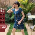 Dress Summer 2021 Blue check S,M,L,XL Short skirt singleton  Short sleeve commute square neck High waist lattice Single breasted other other Others 18-24 years old Type A Other / other Korean version 71% (inclusive) - 80% (inclusive) other cotton
