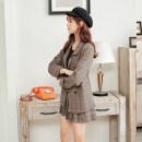 Fashion suit Spring 2021 S [85-105 Jin], m [105-118 Jin], l [118-128 Jin], XL [128-138 Jin] Coffee [suit + pleated skirt], coffee [suit coat], grey [suit + pleated skirt], grey [suit coat], grey [pleated skirt], coffee [pleated skirt] 18-25 years old G91024 96% and above polyester fiber