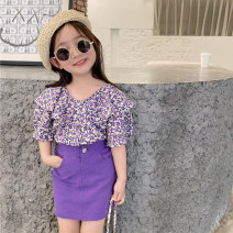 suit Other / other Top, skirt 5 (recommended height 85-90cm), 7 (recommended height 90-100cm), 9 (recommended height 100-105cm), 11 (recommended height 105-110cm), 13 (recommended height 110-117cm), 15 (recommended height 117-125cm) female summer Korean version Short sleeve + skirt 2 pieces Socket