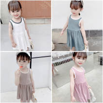 Dress Blue, pink, coffee, beige female Other / other 7 (recommended height 90-100cm), 9 (recommended height 100-105cm), 11 (recommended height 105-110cm), 13 (recommended height 110-115cm), 15 (recommended height 115-125cm) Other 100% summer Korean version Skirt / vest Solid color cotton Pleats other