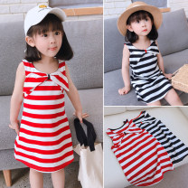 Dress Black stripe, red stripe female Other / other 7 (recommended height 90-100cm), 9 (recommended height 100-105cm), 11 (recommended height 105-110cm), 13 (recommended height 110-115cm), 15 (recommended height 115-125cm) Other 100% summer Korean version Skirt / vest stripe cotton A-line skirt other