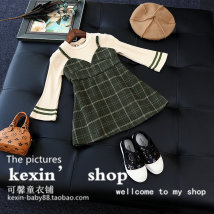 Dress Retro Green and foreign style coffee Other brands female Other 100% spring and autumn Korean version Long sleeves lattice Splicing style FQZ309