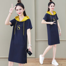 Dress Summer 2021 Sapphire blue brick red pink M L XL 2XL 3XL Mid length dress singleton  Short sleeve commute Hood High waist letter Socket other routine Others 25-29 years old Black and white feelings Korean version Pocket print HB-690ES 31% (inclusive) - 50% (inclusive) other nylon