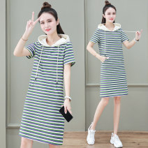 Dress Summer 2021 Purple Stripe green stripe coffee stripe M L XL 2XL 3XL Mid length dress singleton  Short sleeve commute Hood High waist stripe Socket other routine 25-29 years old Black and white feelings Korean version pocket HB-2296RD More than 95% other cotton Pure e-commerce (online only)