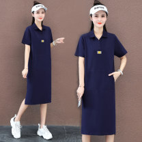 Dress Summer 2021 Kaqibao Turquoise M L XL 2XL Mid length dress singleton  Short sleeve commute Polo collar High waist letter A-line skirt routine Others 25-29 years old Black and white feelings Korean version pocket HB-21105GB More than 95% cotton Cotton 95% polyurethane elastic fiber (spandex) 5%