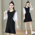 Dress Summer 2021 Grey sapphire blue black M L XL 2XL 3XL Mid length dress singleton  elbow sleeve commute Crew neck High waist Solid color Socket other other Others 25-29 years old Black and white feelings Korean version Ruffle stitching HB - 2693SD 51% (inclusive) - 70% (inclusive) other cotton