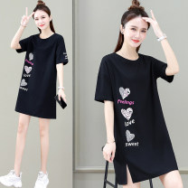 Dress Summer 2021 Khaki white black red M L XL Mid length dress singleton  Short sleeve commute Crew neck High waist letter Socket other routine Others 25-29 years old Black and white feelings Korean version printing HB-16655GD 91% (inclusive) - 95% (inclusive) other cotton