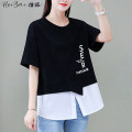 T-shirt M L XL 2XL Summer 2021 Short sleeve Crew neck Fake two pieces Regular routine commute cotton 71% (inclusive) - 85% (inclusive) 25-29 years old Korean version youth Color matching of letters Black and white feelings Asymmetric print stitching Cotton 82.8% polyester 17.2%