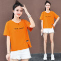 T-shirt Beibaimei red orange green M L XL 2XL Summer 2021 Short sleeve Crew neck easy have cash less than that is registered in the accounts routine commute cotton 86% (inclusive) -95% (inclusive) 25-29 years old Korean version youth letter Black and white feelings HB-21091RE Embroidered cloth