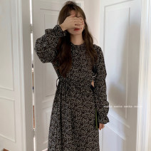Dress Spring 2021 Picture color Average size Mid length dress singleton  Long sleeves commute stand collar High waist Broken flowers pagoda sleeve 18-24 years old Type A Korean version 71% (inclusive) - 80% (inclusive) Chiffon polyester fiber