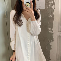 Dress Summer 2021 white Average size Mid length dress singleton  Long sleeves commute V-neck Loose waist Solid color Single breasted Ruffle Skirt routine 18-24 years old Type H Korean version 71% (inclusive) - 80% (inclusive) Chiffon polyester fiber