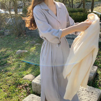 Dress Spring 2021 Apricot, light blue, black S,M,L,XL Mid length dress singleton  Long sleeves commute tailored collar High waist Solid color Single breasted routine 18-24 years old Type A Other / other Korean version Frenulum 71% (inclusive) - 80% (inclusive)