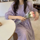 Dress Summer 2021 lavender Average size longuette Two piece set three quarter sleeve Sweet Crew neck Loose waist Solid color Socket Irregular skirt raglan sleeve Others 18-24 years old Type A Stitching, asymmetry, bandage 81% (inclusive) - 90% (inclusive)